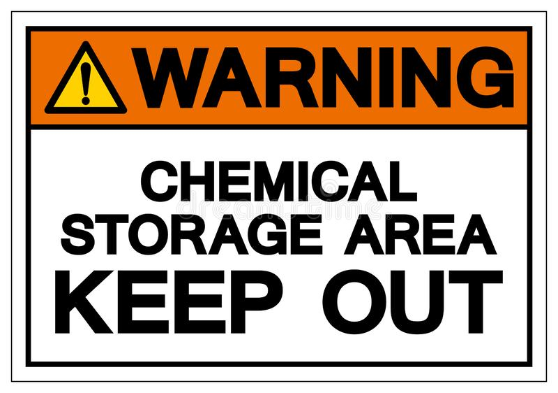 警告的化工贮存区把标志标志,传染媒介例证,在白色背景标签的孤立关在外面 EPS10 库存例证