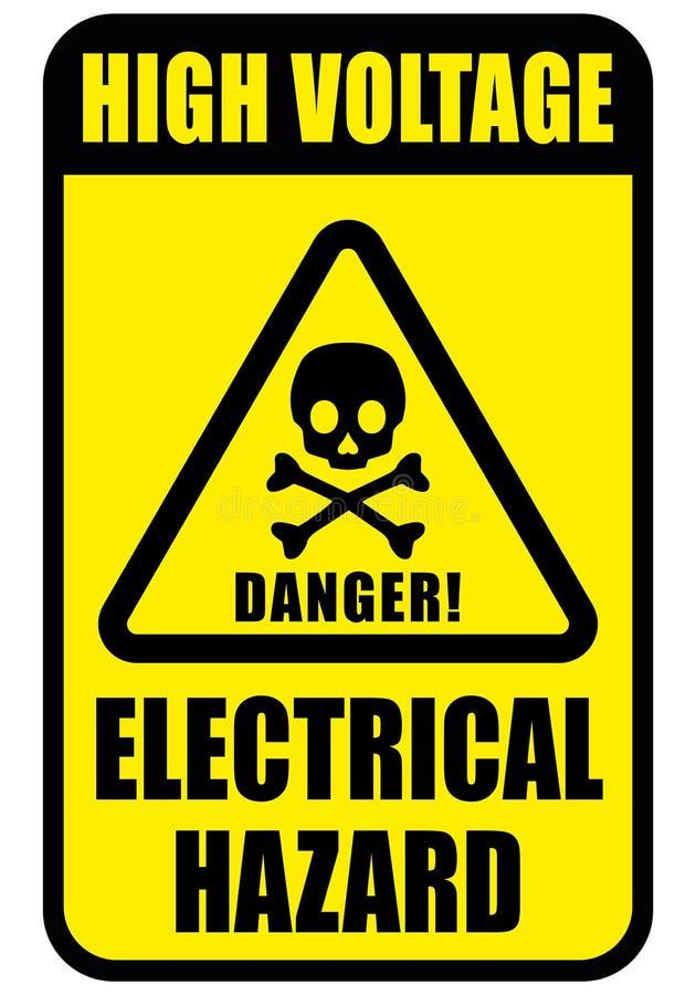 警告的危险标志、头骨象长方形和三角框架黑色和黄色颜色背景 库存例证