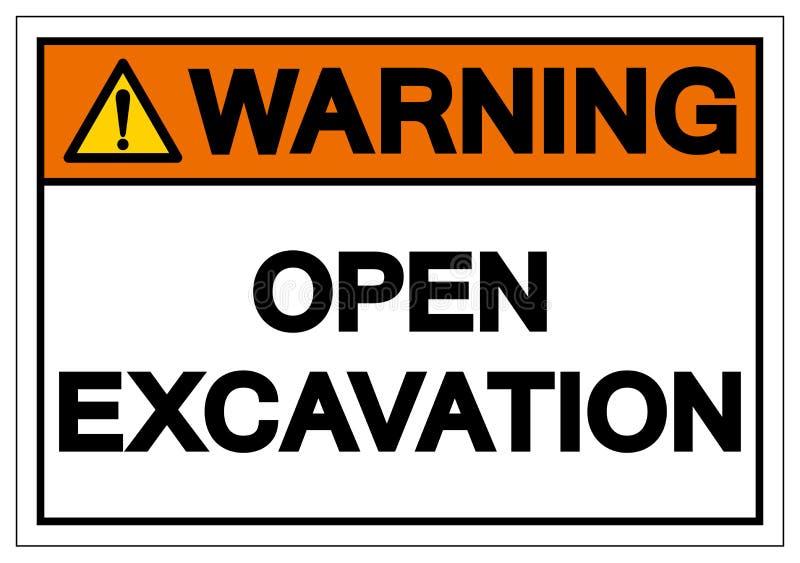 警告的开放挖掘标志标志,传染媒介例证,在白色背景标签的孤立 EPS10 向量例证
