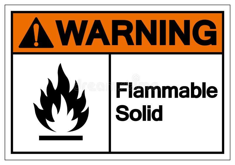 警告的易燃固体标志标志,传染媒介例证,在白色背景标签的孤立 EPS10 向量例证
