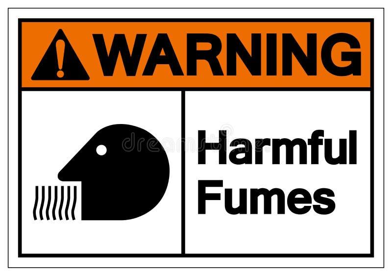 警告的有害的发烟标志标志,传染媒介例证,在白色背景标签的孤立 EPS10 库存例证