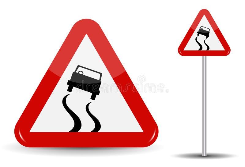 警告的标志溜滑路 在红色三角是滑动的一个概略机器 也corel凹道例证向量 库存例证