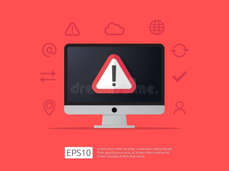警告的注意在计算机上的机敏的标志有惊叹号的s 皇族释放例证