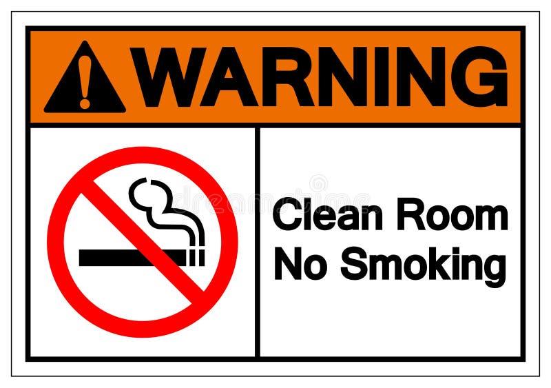 警告的洁净室禁烟标志标志,传染媒介例证,在白色背景标签的孤立 EPS10 皇族释放例证
