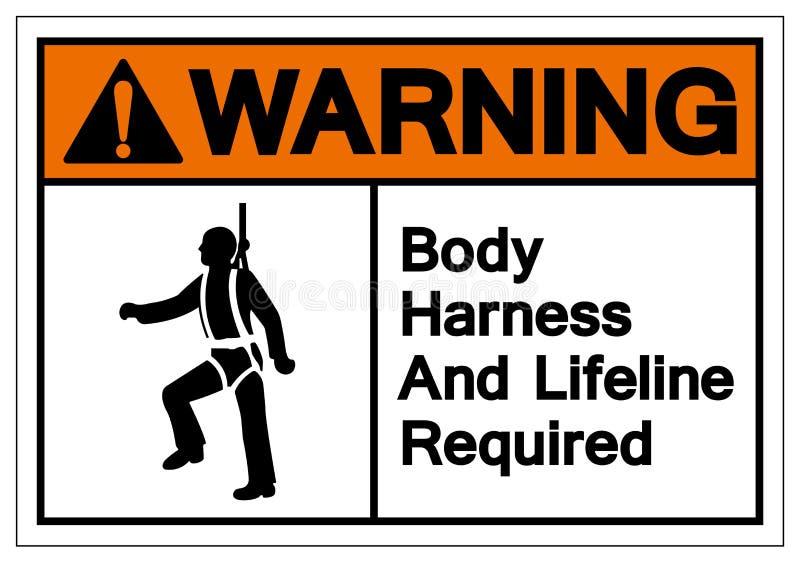警告的身体鞔具和保险索必需的标志标志,传染媒介例证,在白色背景标签的孤立 EPS10 库存例证