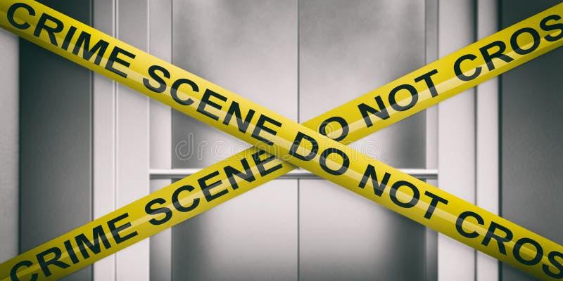 E 警告的黄色磁带,文本不横渡,迷离电梯门背景 3d?? 向量例证