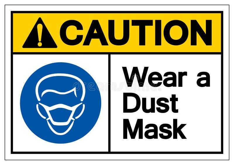 警告穿戴防尘面具标志标志,传染媒介例证,在白色背景标签的孤立 EPS10 向量例证