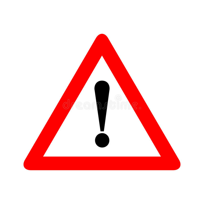 警告红色三角的小心机敏的标志传染媒介例证,隔绝在白色背景 小心,不,中止 皇族释放例证