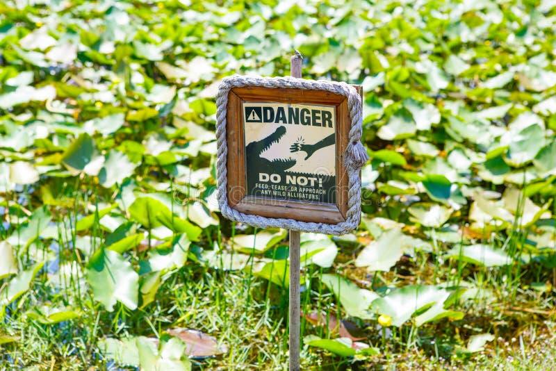 警告警报信号佛罗里达沼泽地国家公园,美国 库存图片