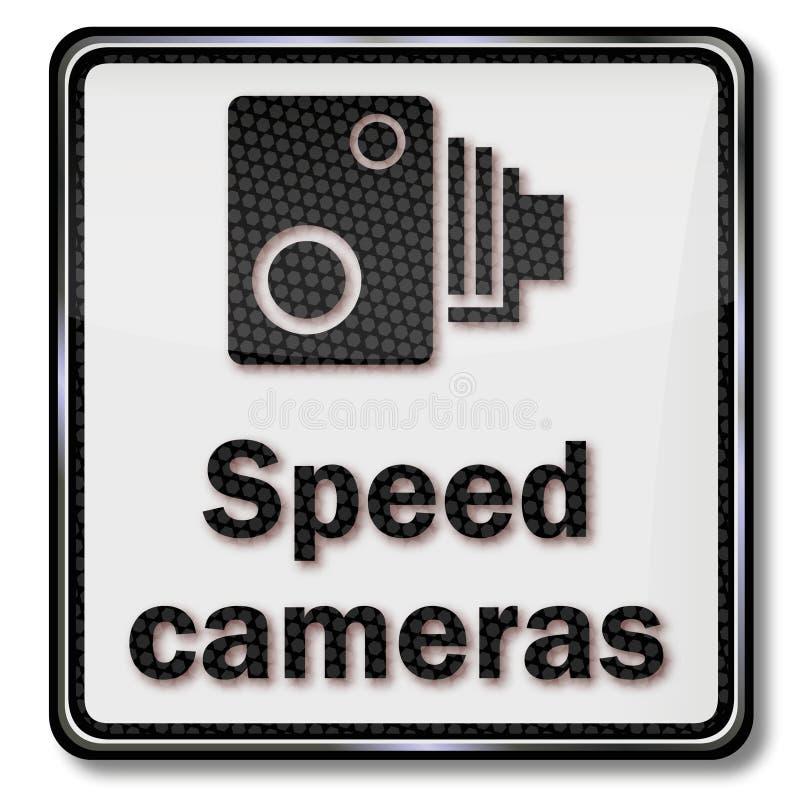 警告雷达监视和速度照相机 库存例证