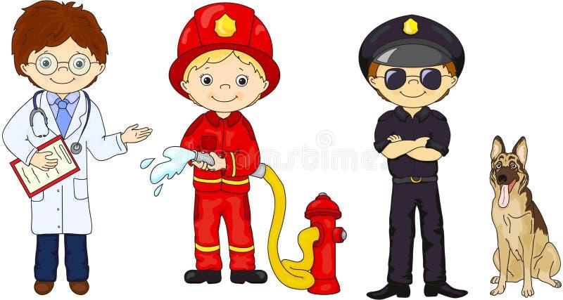 警察、消防员和医生他们的制服的 库存例证