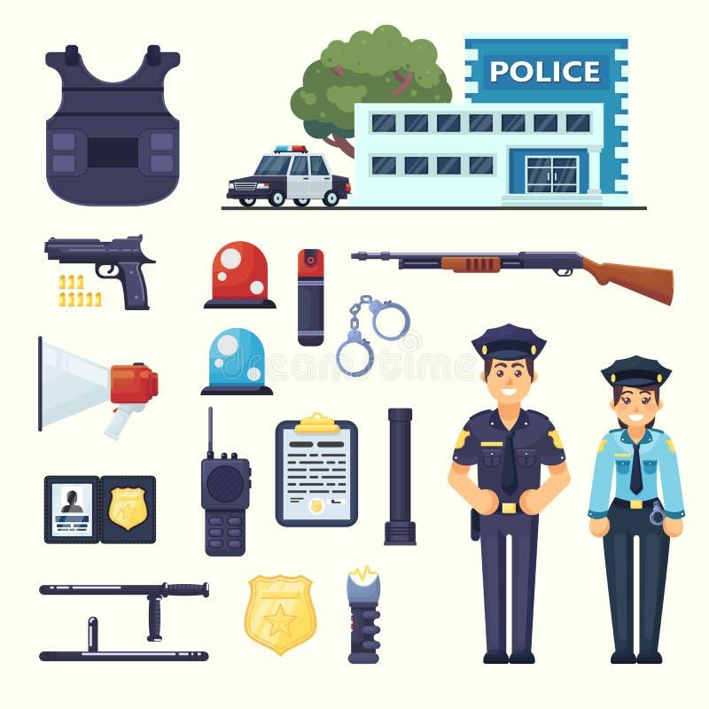 警察专业设备集合 手铐、防弹背心、electroshocker、警棍、徽章、武器、驻地,汽车和其他 库存例证