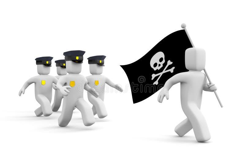 警察为海盗行为追逐 库存例证