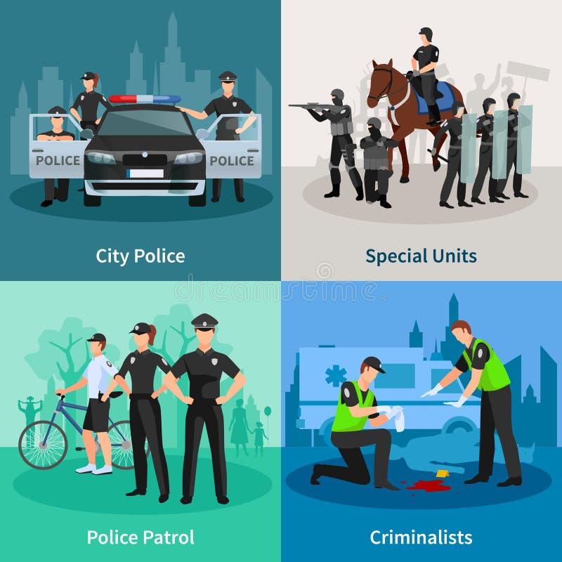 警察人平的2x2设计观念 库存例证