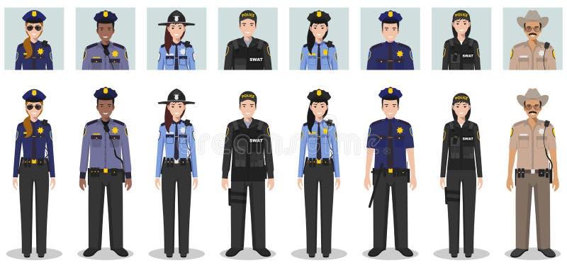 警察人概念 套拍打官员、警察、女警和警长不同的详细的例证和具体化象  免版税库存照片
