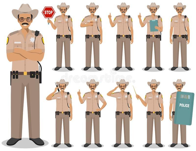 警察人概念 美国警察的详细的例证,警长身分用在舱内甲板的不同的位置 库存例证