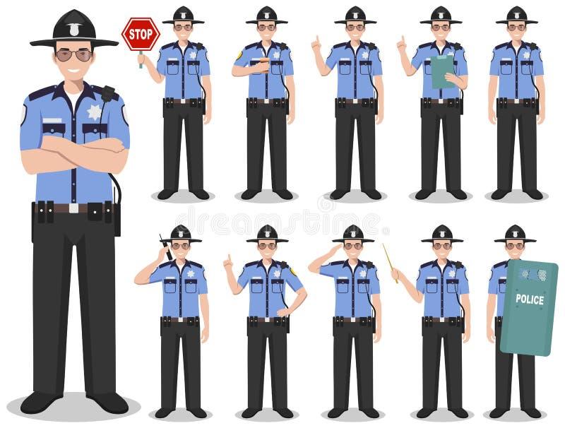 警察人概念 美国警察的详细的例证,警长身分用在舱内甲板的不同的位置 皇族释放例证