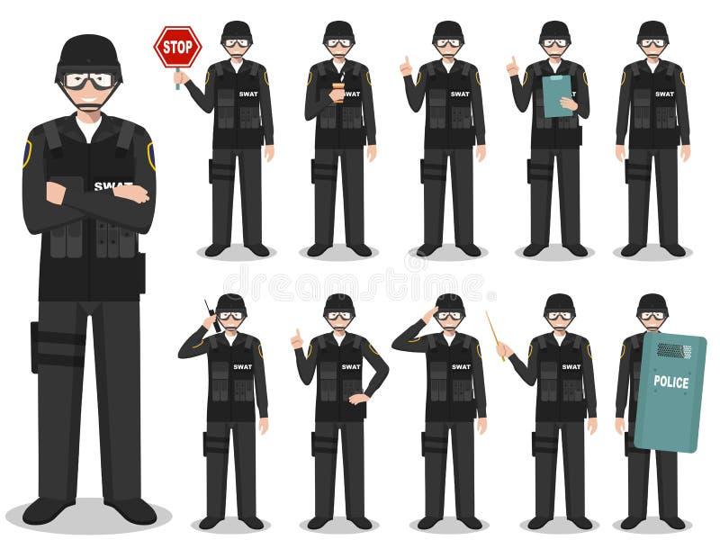 警察人概念 美国警察,警长,拍打官员身分的详细的例证用不同的姿势 皇族释放例证