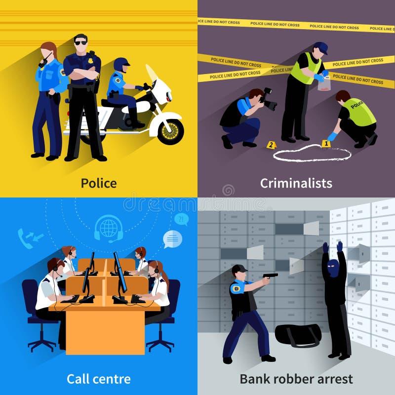 警察人正方形概念 向量例证