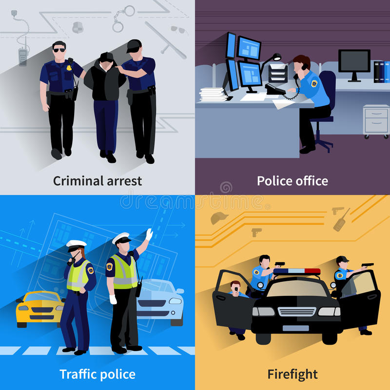 警察人2x2设计构成 向量例证