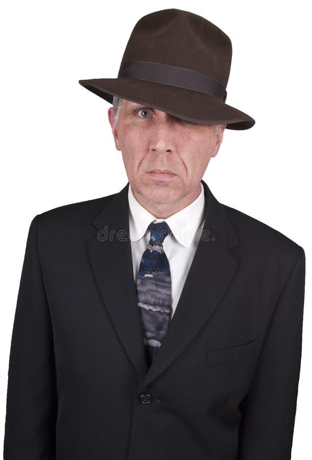 警察侦探眼睛调查员专用暗中进行 库存照片