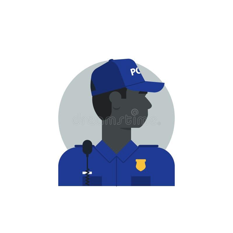 警察侧视图,被转动的头,黑人 向量例证