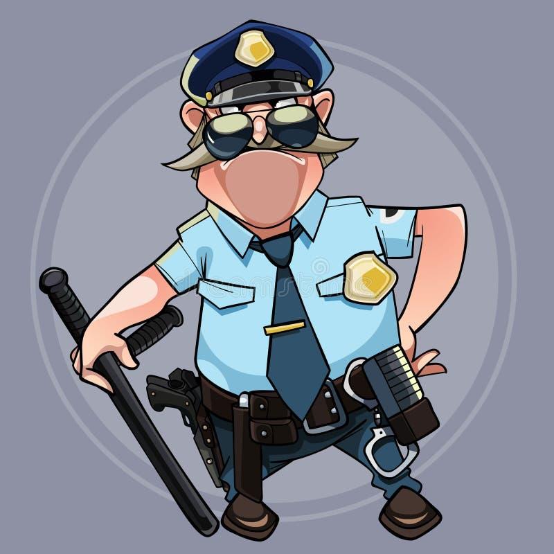 警察制服的动画片有胡子的人用棍子 向量例证