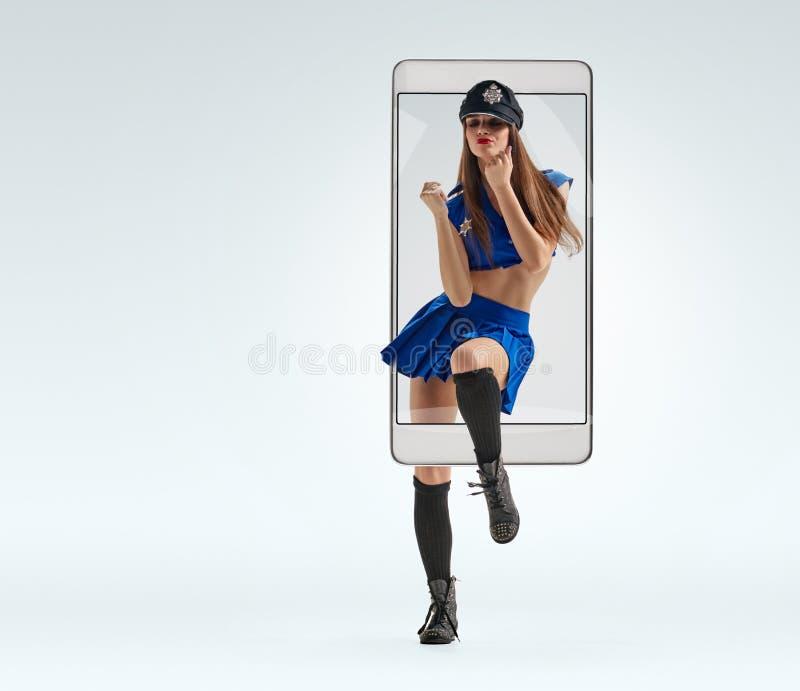 警察制服的妇女 库存照片