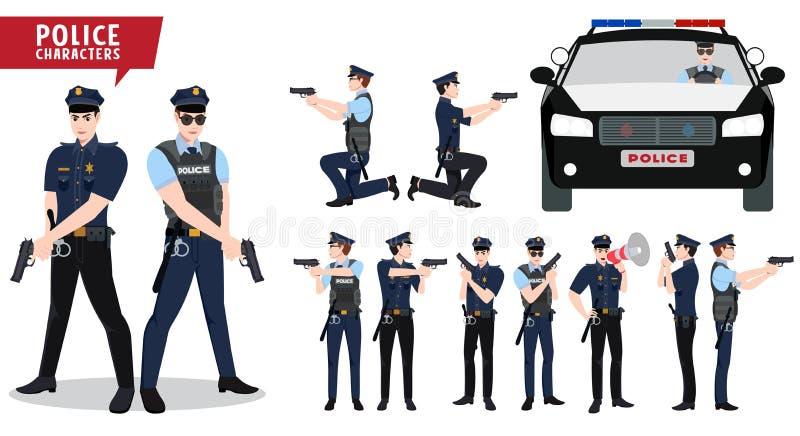 警察和警车传染媒介字符集 法律拿着有各种各样的姿势的实施者字符枪 皇族释放例证