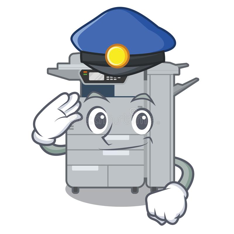 警察在动画片形状的影印机机器 向量例证