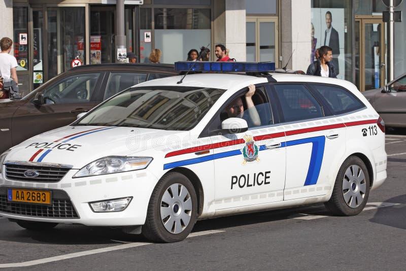 警察在卢森堡的中心干预 库存照片