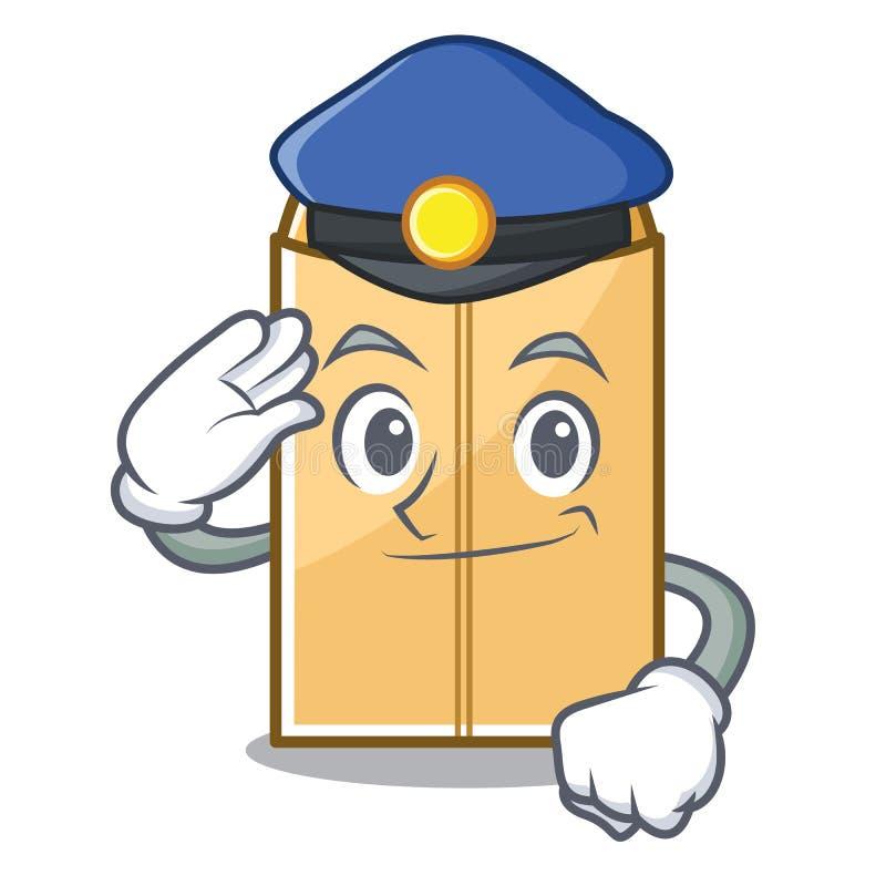 警察在字符形状的邮件信封 向量例证