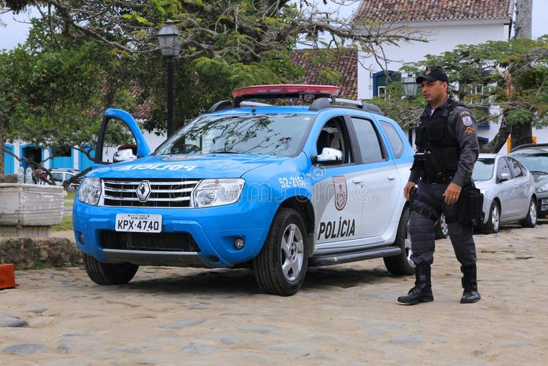 警察在巴西 库存图片