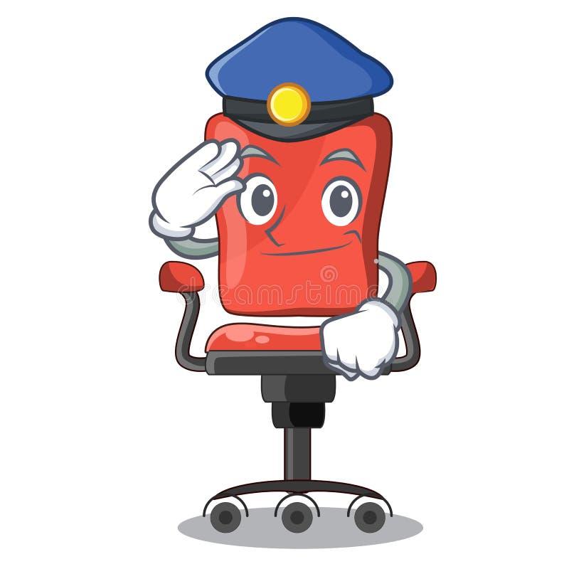 警察字符在室内办公桌椅子 库存例证