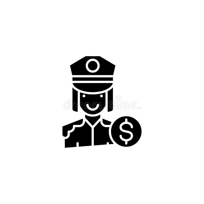 警察官员黑色象概念 警察官员平的传染媒介标志,标志,例证 皇族释放例证