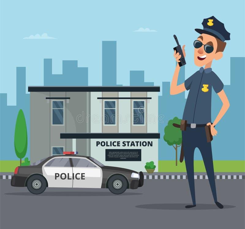 警察局大厦和警察漫画人物图片