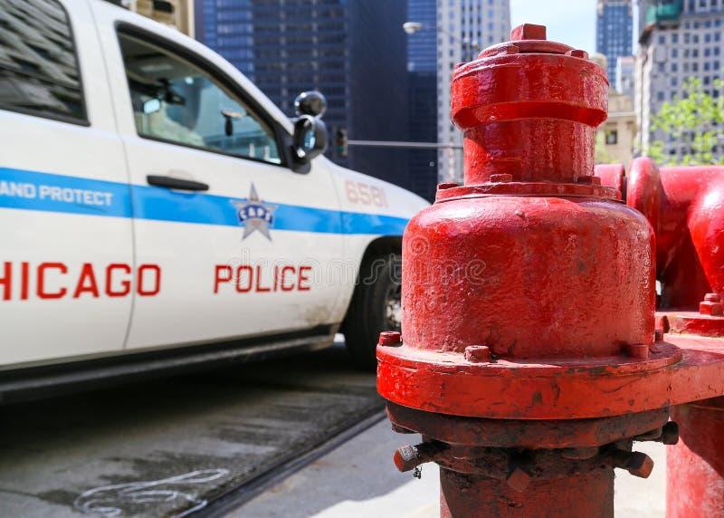 警察当班在芝加哥 库存图片