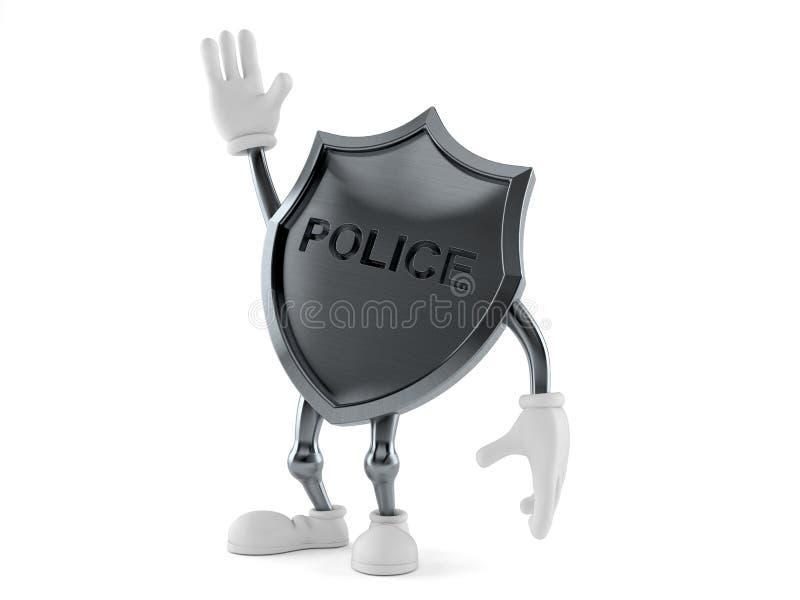 警察徽章字符用手 向量例证