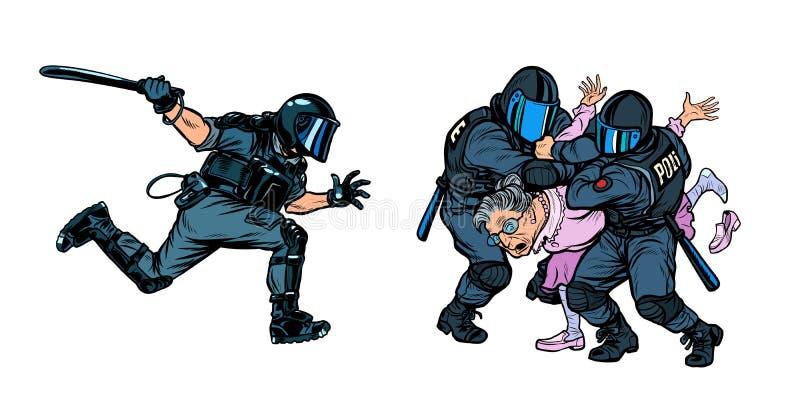 警察拘捕了一个妇女退休的老妇人 库存例证