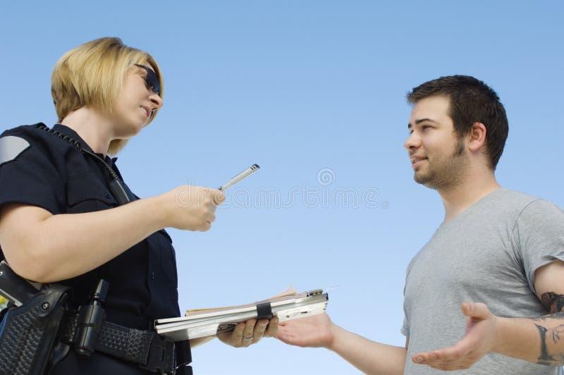 警察文字票 库存照片