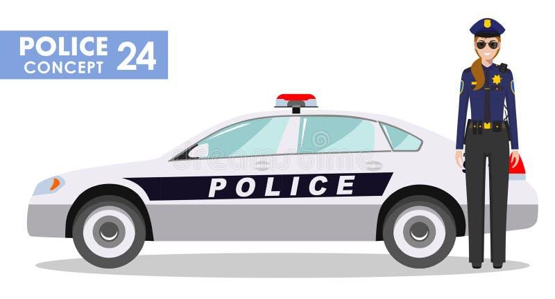警察概念 女警官员和警车的详细的例证在平的样式在白色背景 向量 库存例证