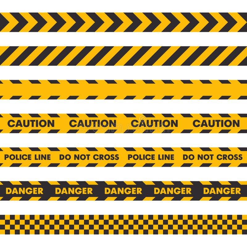 警察犯罪现场障碍磁带 在白色背景的无缝的集合 ?? 库存例证