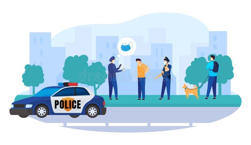 警察精细检疫断路器矢量图插图 病毒检疫期间无防护面具的逮捕人 向量例证