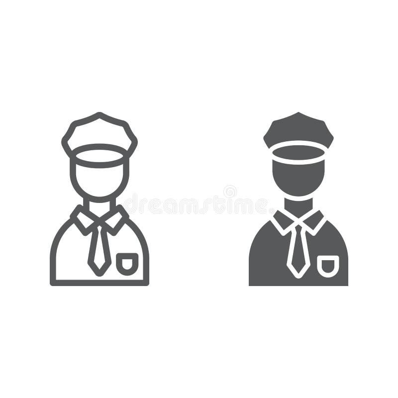警察线和纵的沟纹象、警察和人,警察标志,向量图形,在白色的一个线性样式 向量例证