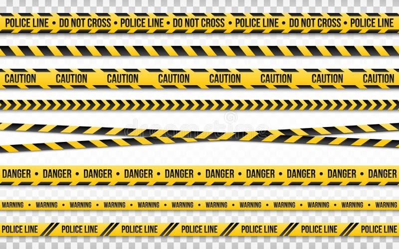 警察线在透明背景不横渡隔绝 警察磁带集合 制约区域或罪行地方 黑色和 皇族释放例证
