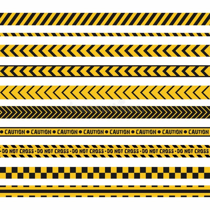 警察线,犯罪现场,不横渡传染媒介无缝的条纹 套黄色和黑禁止线 库存例证
