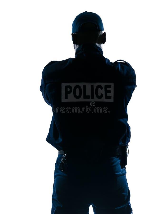 警察背面图 免版税库存照片