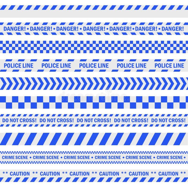 警察蓝色磁带 库存例证