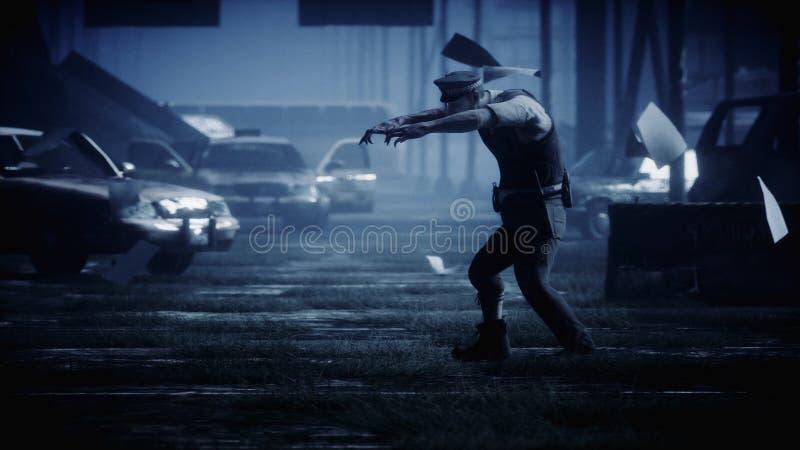 警察蛇神在黑暗被毁坏的城市 雾剧烈的夜 启示大气血污的特写镜头概念黑暗的停止的坏的表面生存僵死 3d翻译 皇族释放例证