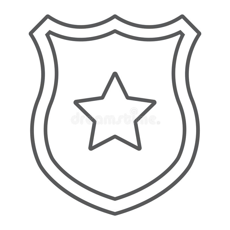 警察证章稀薄的线象,官员和法律,有星标志的,向量图形,在白色的一个线性样式盾 向量例证